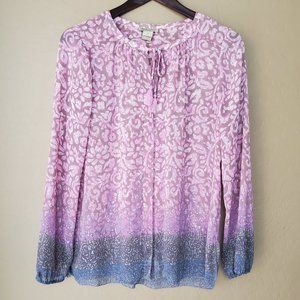 Lucky Brand Floral Boho Peasant Blouse
